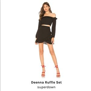 Superdown Deena Black Ruffle Set Sz. S